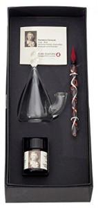 Lauscha Glaskunst Glasfeder mit historischem Tintenfaß und Tinte im Geschenkset FRIEDRICH SCHILLER, variierende Designs