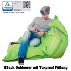 Sitzsack QSack Outdoorer grün mit Toxproof Mikroperlen, schadstoffgeprüft, 140x180 cm