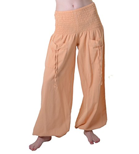 Yoga und Wellnesshose zum Wohlfühlen aus Baumwolle Hippie Goa Hose, Apricot
