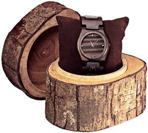 MATOA Gili - Holz-Armbanduhr handgefertigt aus recyceltem Ebenholz | Unisex Holzuhr für Damen und Herren | Edle Geschenkverpackung aus Mahagoni-Holz, perfekt als Weihnachtsgeschenk